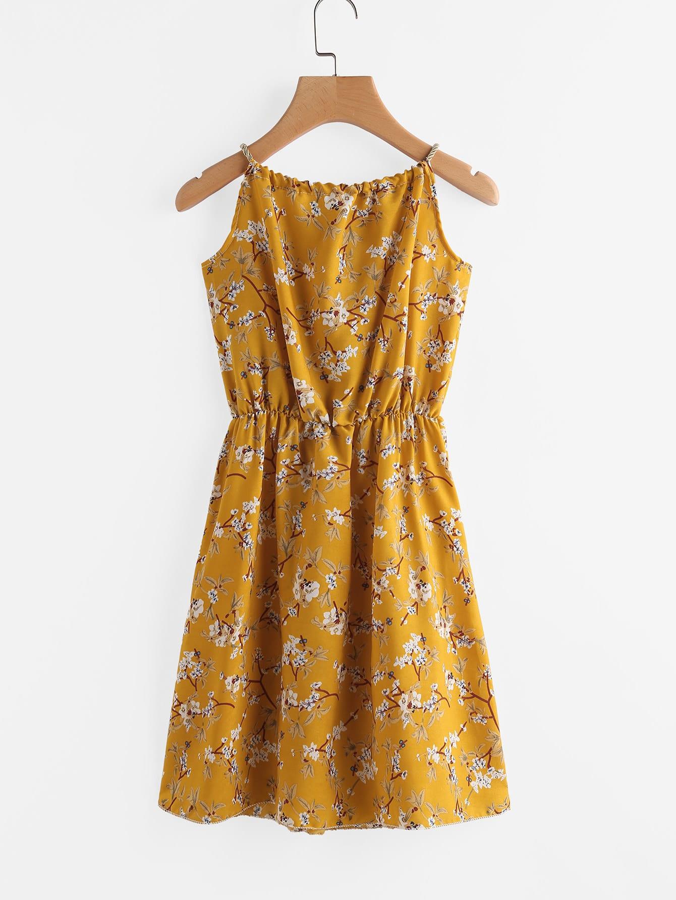 Фото Ditsy Print Random Self Tie Cami Dress. Купить с доставкой