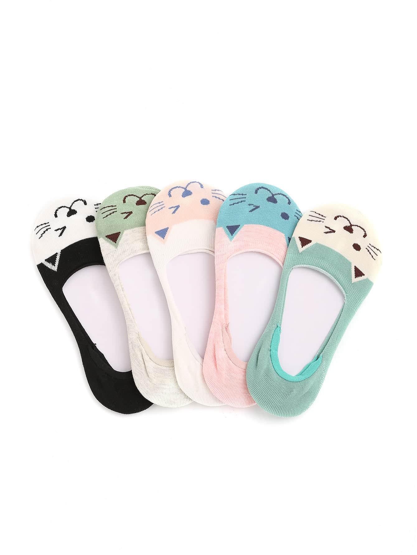 Фото Cat Pattern Invisible Socks 5pairs. Купить с доставкой