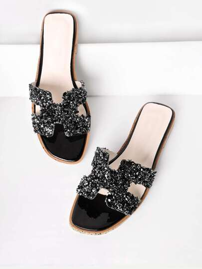 Sequin Decorated Cutout Flat Slides