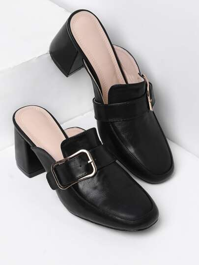 Buckle Design Heeled Mules