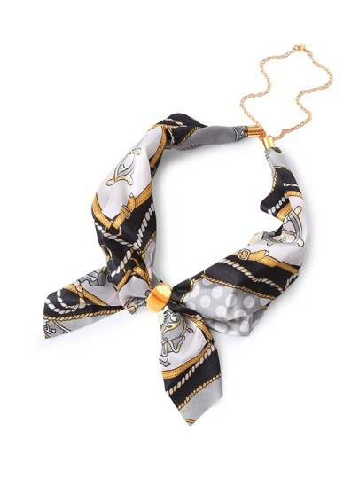 Chain Print Removable Neckerchief