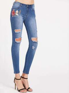 Bleach Wash Flower Embroidered Destroyed Skinny Jeans