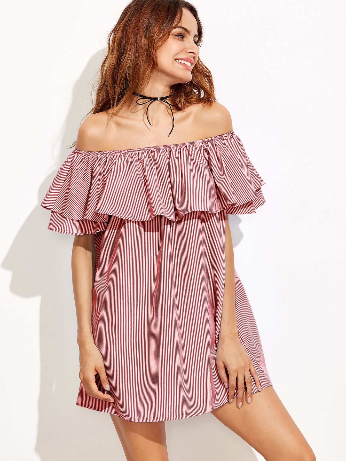 Flounce Layered Vertical Striped Bardot Dress