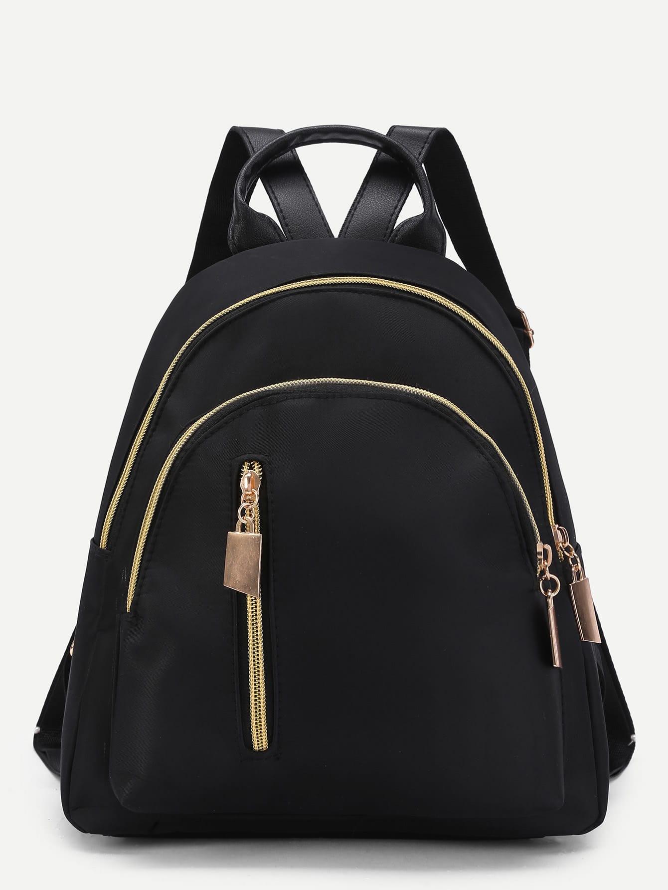 Vertical Zipper Detail Nylon Backpack