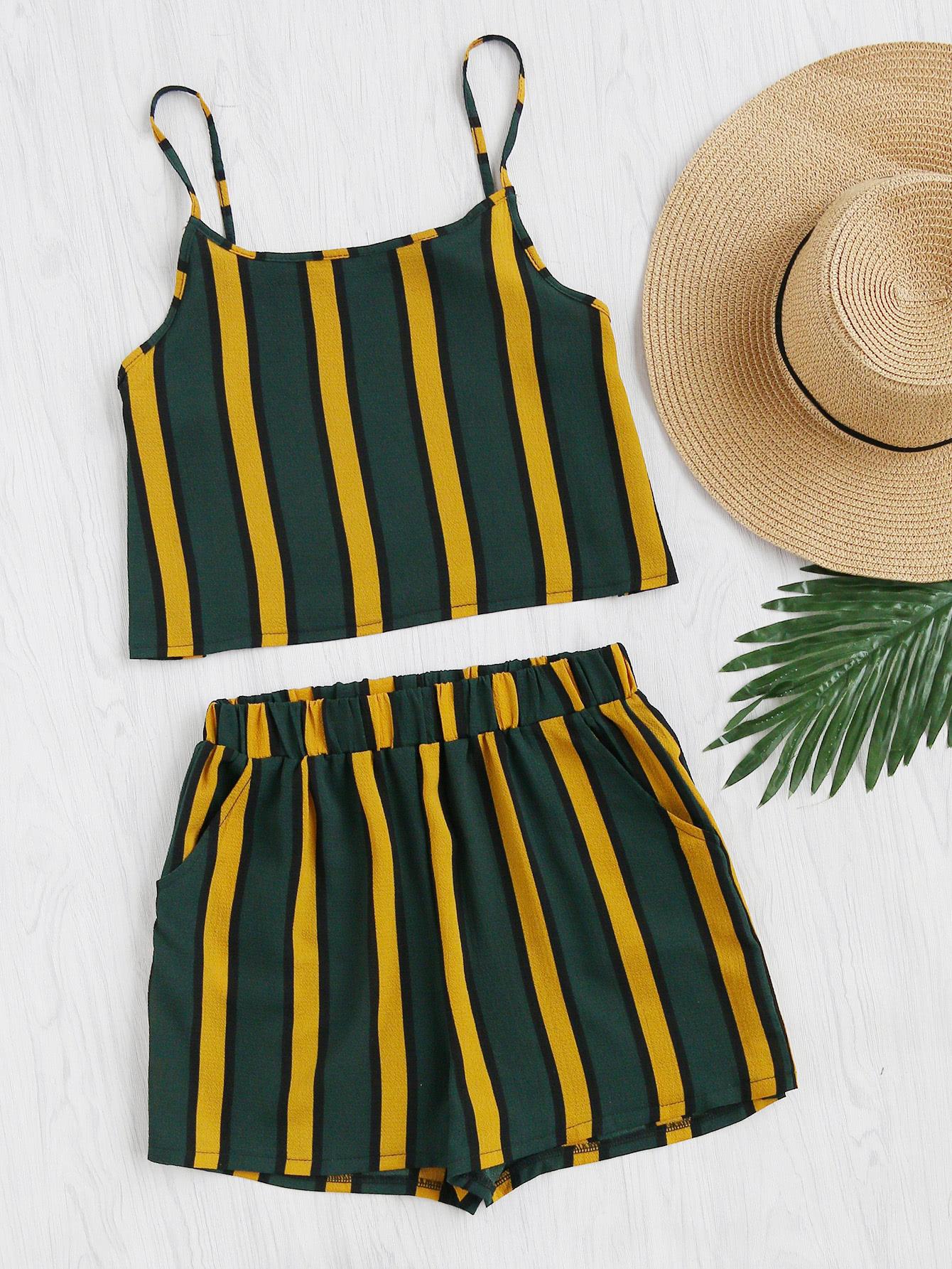 Фото Vertical Striped Crop Cami Top With Shorts. Купить с доставкой