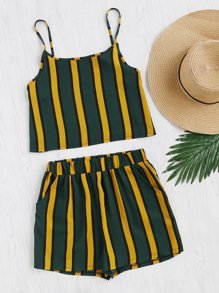 Vertical Striped Crop Cami Top With Shorts