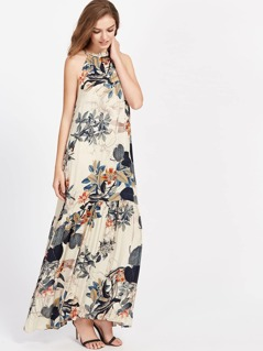 Tropical Print Frilled Halter Neck Smock Dress