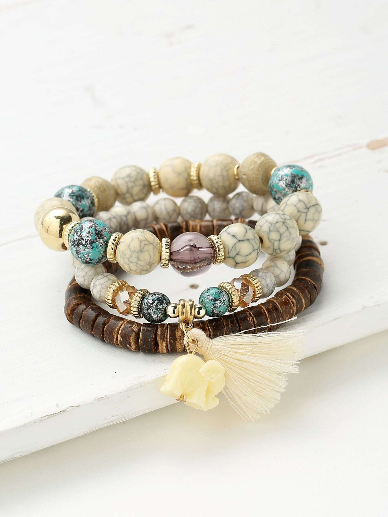 Фото Elephant & Tassel Detail Bracelet Set. Купить с доставкой