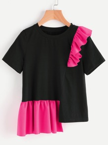 Contrast Frill Trim Staggered Hem T-shirt