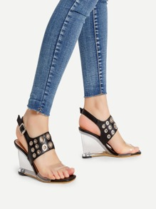 Eyelet Design Faux Leather Wedge Sandals