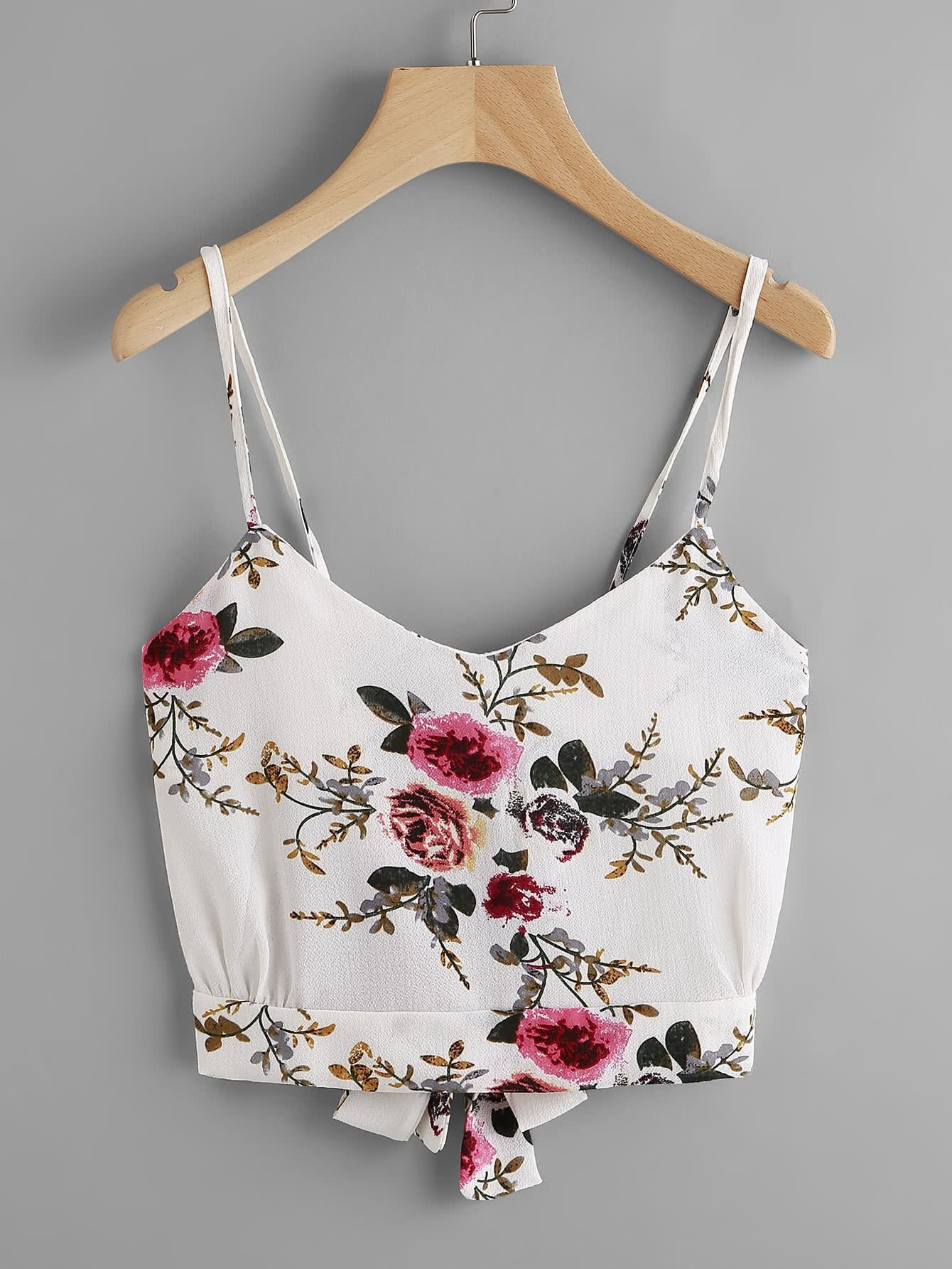 Floral Print Random Split Tie Back Cami Top RVES170519003