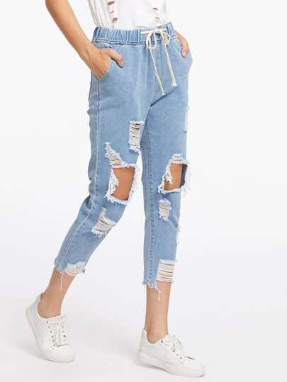 Destroyed Raw Hem Drawstring Waist Crop Jeans