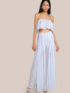 Striped Sleeveless Crop & Matching Pant Set IVORY