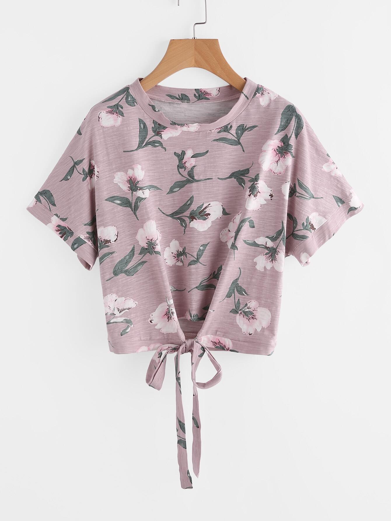 Flower Print Tie Front Slub Tee full length slub tee dress