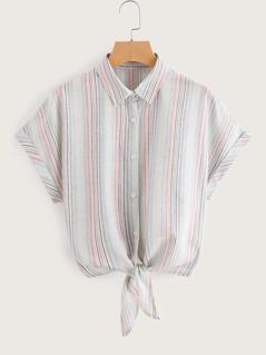 Tie Front Cuffed Dolman Sleeve Striped Shirt