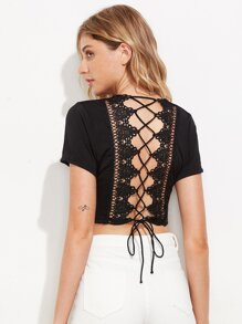 Plunge Crochet Lace Trim Lace Up Back Crop Tee