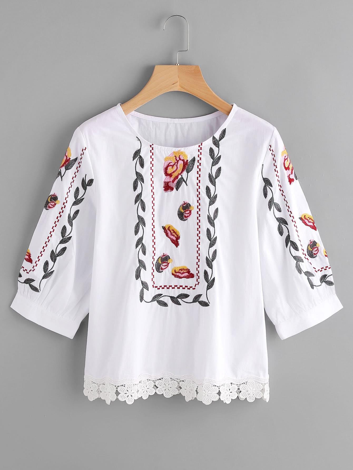 Фото Floral Lace Trim Embroidery Blouse. Купить с доставкой