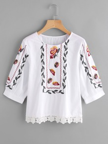 Floral Lace Trim Embroidery Blouse
