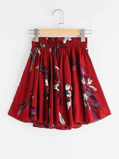 Floral Print Shirred Waist Skirt