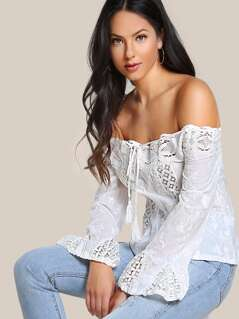 Tassel Tie Lace Panel Embroidered Bardot Top