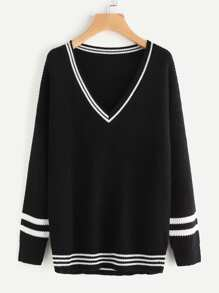 Varsity Striped Trim Jumper