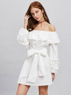 Self Tie Shirred Frill Detail Bardot Dress