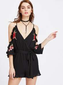 Embroidery Patch Draped Frill Cold Shoulder Surplice Wrap Playsuit