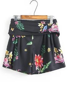 Shorts imprimé fleuri taille élastique