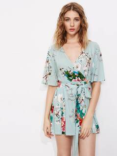 Flutter Sleeve Surplice Wrap Pleated Botanical Romper