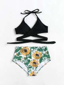 Botanical Print High Rise Wrap Bikini Set