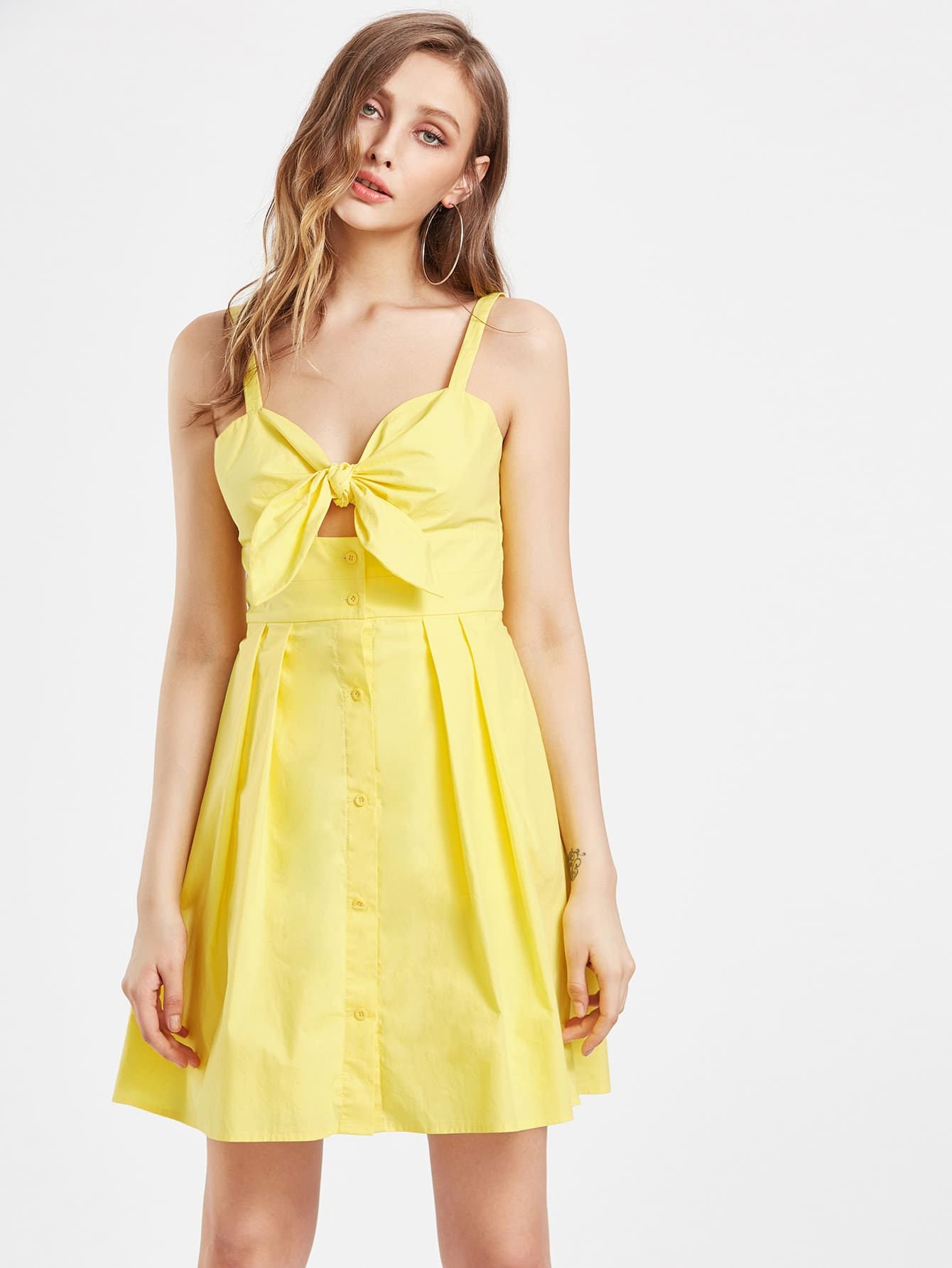 Knot Button Front Box Pleated Cami Dress