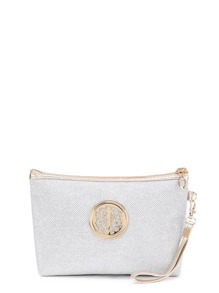 Metallic Trim Make-up Tasche mit Wristlet