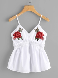 Symmetric Flower Patch Frilled Babydoll Cami Top