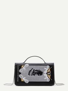 Bee And Letter Embroidery PU Shoulder Bag
