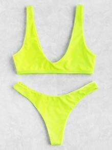 Neon Plunge Neckline High Leg Bikini Set
