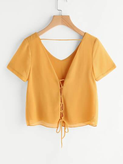 Lace Up Self Tie V Back Chiffon Top