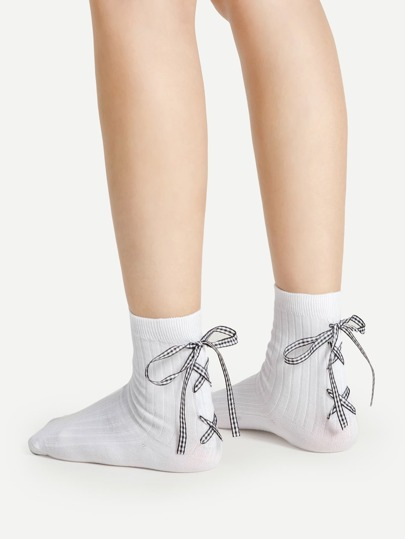 Gingham Lace Up Ankle Socks