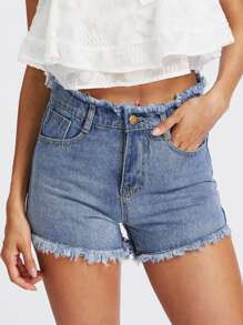 Shorts en denim bord lacéré