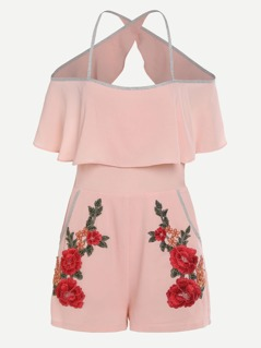 Striped Binding Crossover Back Flower Patch Flounce Romper