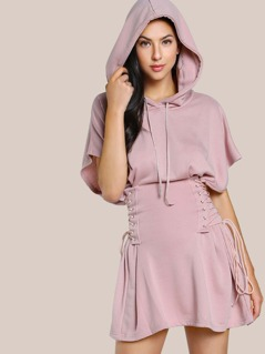 Lace Up Dolman Hoodie Dress