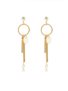 Circle And Bar Drop Earrings With Faux Pearl