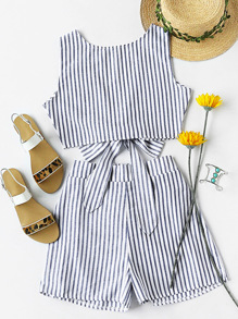 Contrast Striped Knotted Multiway Crop Tank Top With Shorts