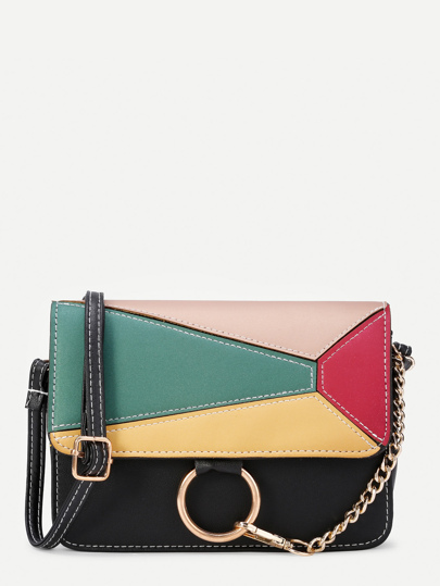 Ring Design Color Block Flap PU Shoulder Bag