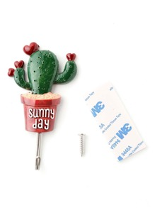 Heart Cactus Shaped Design Cute Stick Hook