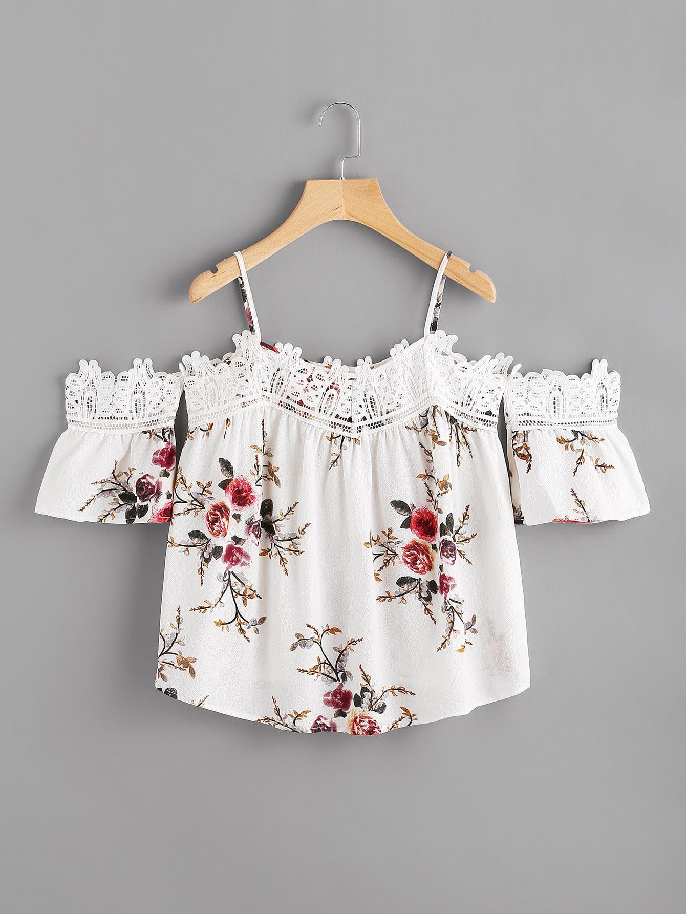 Фото Lace Trim Floral Cold Shoulder Top. Купить с доставкой