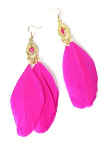 Feather Design Drop Earrings
