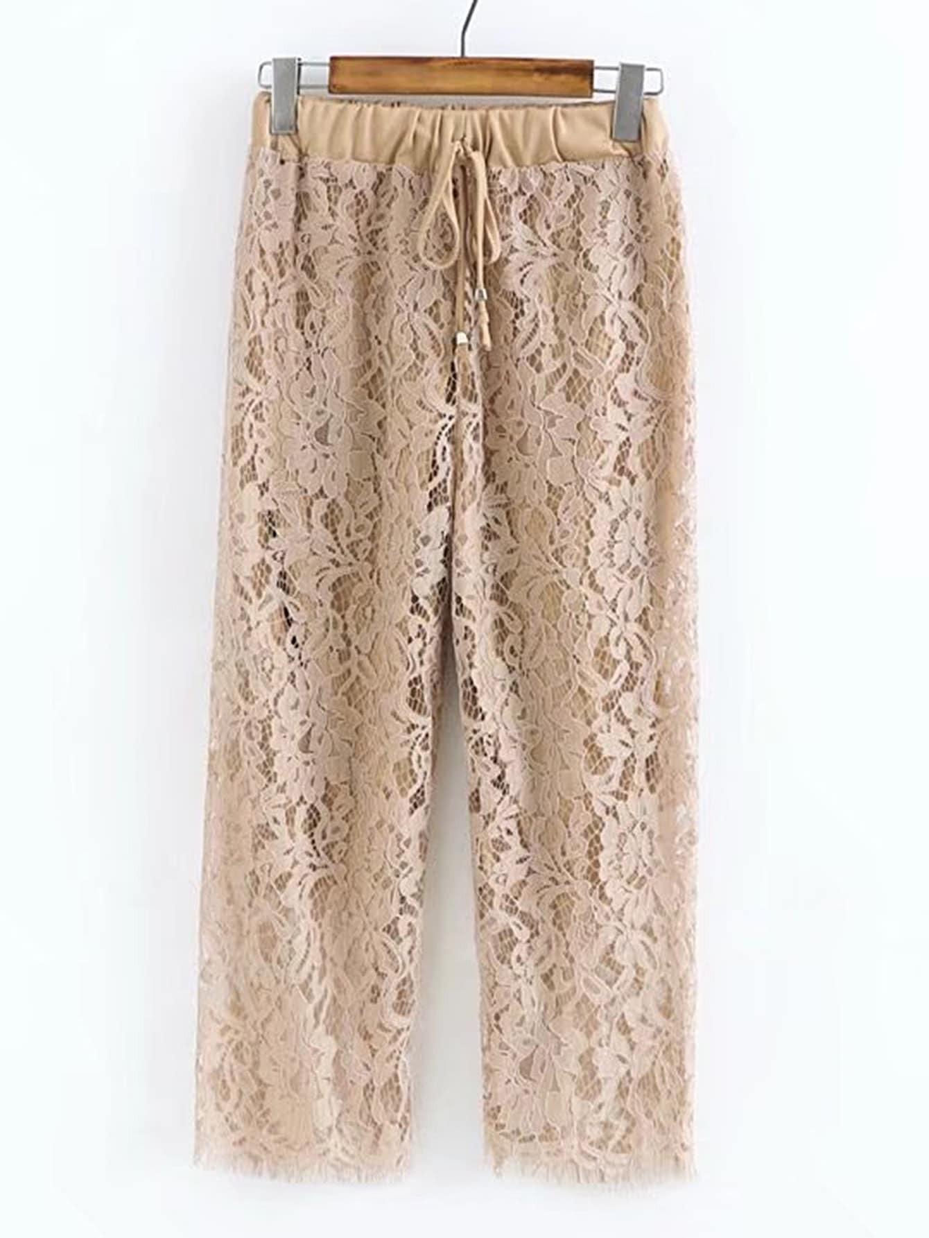 Фото Drawstring Waist Lace Pants. Купить с доставкой