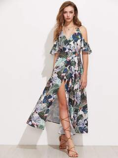 Flutter Sleeve Surplice Wrap Tropical Dress