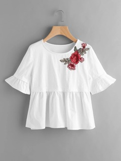 Embroidered Rose Patch Fluted Sleeve Mixed Media T-shirt
