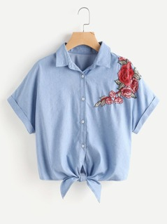 Embroidered Flower Patch Tie Front Cuffed Chambray Shirt